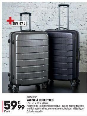 Valise à roulettes offre à 59,99€