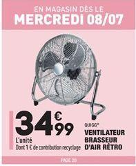 Ventilateur brasseur d'air rétro offre à 34,99€