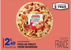Pizza au poulet façon basquaise  offre à 2,49€