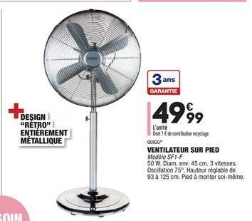 Ventilateur sur pied  offre à 49,99€