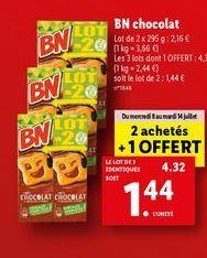 Chocolats BN Chocolat offre à 1,44€