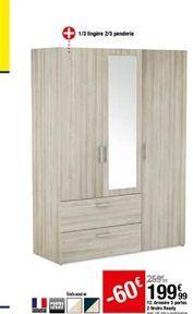Armoire 3 portes 2 tiroirs Ready offre à 199,99€
