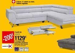Canapé d'angle convertible méridienne droit tissu Alfa Phoénix offre à 1129€