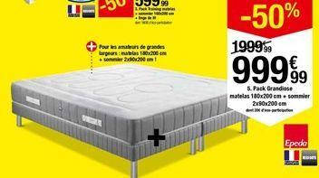 Pack Training matelas + sommier 160x200 cm + linge de lit dont 18€90 d'éco-participation offre à 999,99€