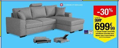 Canapé d'angle convertible méridienne réversible tissu Malmo June 2 (sans têtière) offre à 699,99€