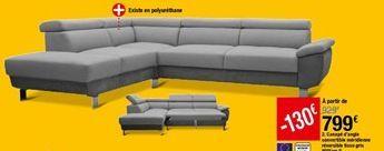 Canapé d'angle convertible méridienne réversible tissu gris William II offre à 799€