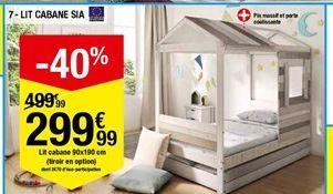 Lit cabane 90x190 cm (tiroir en option) offre à 299,99€