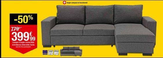 Canapé d'angle convertible méridienne réversible Sonia offre à 399,99€