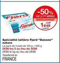 """Spécialité laitière Fjord """"Danone"""" nature offre à 1,99€"""