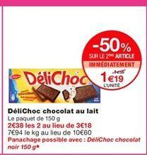 DéliChoc chocolat au lait offre à 1,59€
