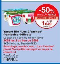 """Yaourt Bio """"Les 2 Vaches"""" framboise délicate offre à 1,99€"""