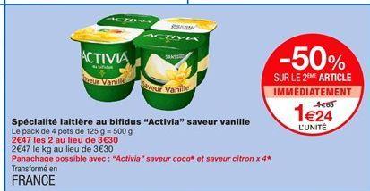 """Spécialité laitière au bifidus """"Activia"""" saveur vanille offre à 1,65€"""