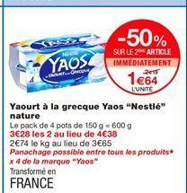 """Yaourt à la grecque Yaos """"Nestlé"""" nature offre à 2,19€"""