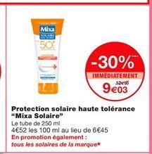 """Protection solaire haute tolérance """"Mixa Solaire"""" offre à 9,03€"""