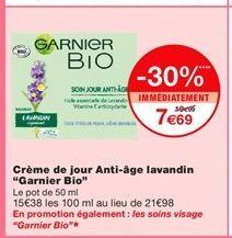 """Crème de jour Anti-age lavandin """"Garnier Bio"""" offre à 7,69€"""