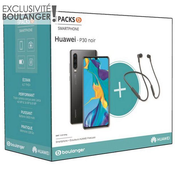 Smartphone Huawei Pack P30 Noir + Freelace offre à 449€