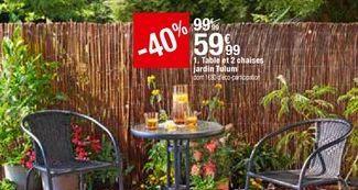 Table et 2 chaises jardin Tulum offre à 59,99€