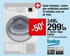 Sèche-linge hublot Beko offre à 299,99€