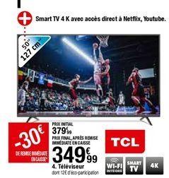 Téléviseur 50'' TCL offre à 349,99€