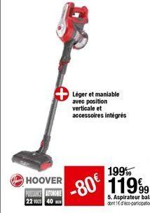 Aspirateur Balai Hoover offre à 119,99€