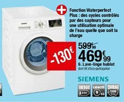 Lave-linge hublot SIEMENS  offre à 469,99€