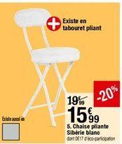 Chaise pliante Sibéria blanc offre à 15,99€