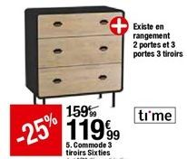 Commode 3 tiroirs Sixties offre à 119,99€