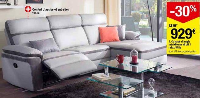 Canapé d'angle méridienne droit 1 relax Willy offre à 929€
