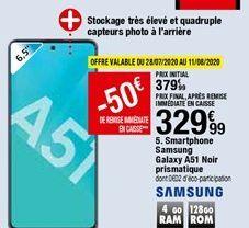Smartphone Samsung Galaxy A51 Noir prismatique Samsung offre à 329,99€