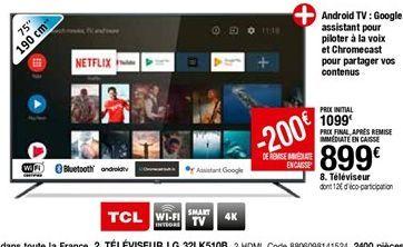 Téléviseur 75'' TCL offre à 899€