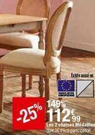 Les 2 chaises Médallon offre à 112,99€