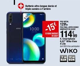 Smartphones Wiko Wiko View 4 LITE offre à 114,99€