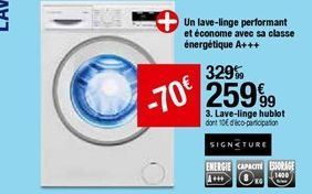 Lave-linge hublot Signature offre à 259,99€