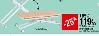Table basse relevable Elio offre à 119,99€