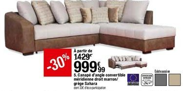 Canapé d'angle convertible méridienne drolt marron/grége Sahara offre à 999,99€