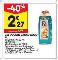 Gel douche cacao coco Fa offre à 2,27€