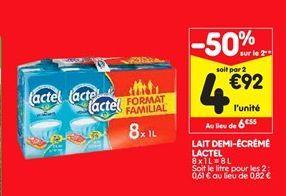 Lait demi-écrémé Lactel offre à 6,55€