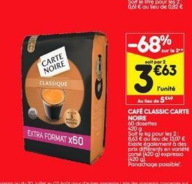 Café classic Carte noire offre à 5,49€