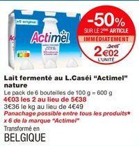 """Lait fermenté au L.caséi """"Actimel"""" nature offre à 2,69€"""