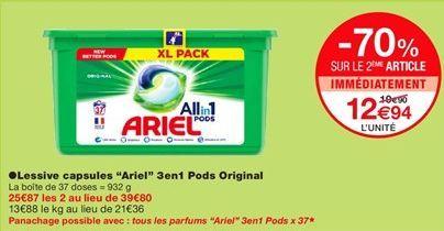 """Lessive capsules """"Ariel"""" 3en1 pods original offre à 19,9€"""