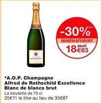 AOP champagne alfred de rothschild excellence blanc de blancs brut offre à 18,83€