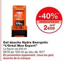 """Gel douche hydra energetic """"L'Oréal men expert"""" offre à 2,09€"""