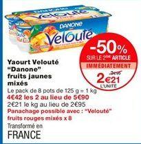 """Yaourt velouté """"Danone"""" fruits jaunes mixés offre à 2,59€"""