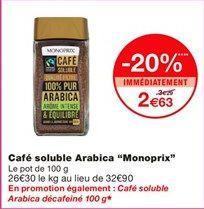 """Café soluble arabica """"Monoprix"""" offre à 2,63€"""