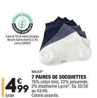 7 paires de socquettes offre à 4,99€