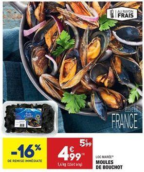 Moules de bouchot offre à 4,99€