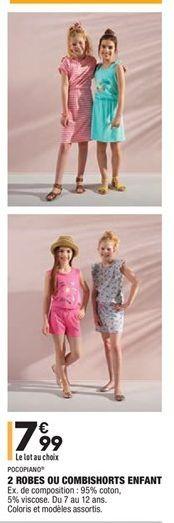 2 robes ou combishorts enfant offre à 7,99€