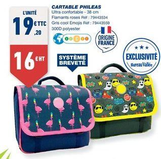 Cartable phileas offre à 19,2€