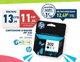 Cartouches d'encre HP 302 offre à 13,99€