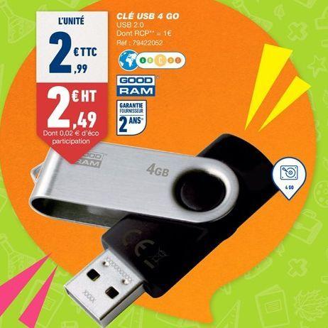 Clé usb 4 GO offre à 2,99€